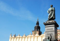 Statue of Adam Mickiewicz in Cracow. Royalty Free Stock Photography