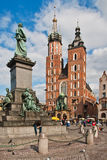 Statue of Adam Mickiewicz in Krakow, Poland Royalty Free Stock Image