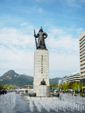 Statue of Admiral Yi Sun-Sin and Water fountain stock photography