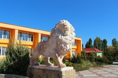 Statue of an adult lion in the safari park royalty free stock photos