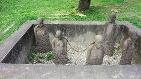 Statue africaine du commerce slave Images libres de droits