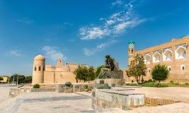 Statue of Al-Khwarizmi in front of Itchan Kala in Khiva, Uzbekistan Royalty Free Stock Photo