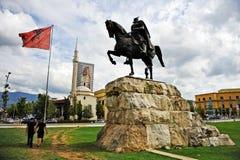 Statue of albanian national hero Skanderbeg in Tirana Stock Images
