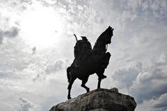 Statue of albanian national hero Skanderbeg in Tirana Royalty Free Stock Photo