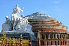 Statue at Albert Memorial overlooking Albert Hall Royalty Free Stock Photography