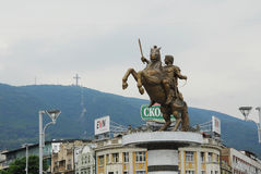 Statue of Alexander the Great in Skopje Stock Photos