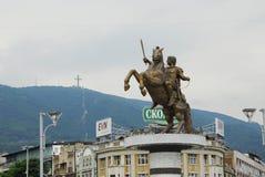 Statue of Alexander the Great in Skopje Stock Photos