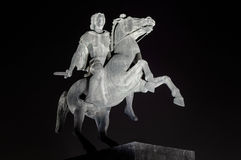 Statue of Alexander the Great at night stock photo