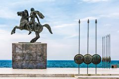 Statue of Alexander the Great in Thessaloniki. Thessaloniki, Greece - August 16, 2018: Statue of Alexander the Great, in Thessaloniki, in the Greek Macedonia royalty free stock photography