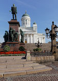 Statue of Alexander II and cathedral in Helsinki, Finland Stock Photos