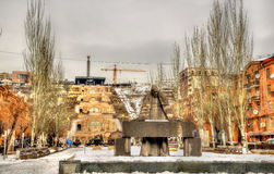 Statue of Alexander Tamanian and Cascade Alley in Yerevan Stock Photos