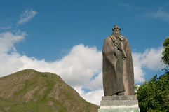 Statue of Alexandre Kazbegi in Stephantsminda, Georgia Royalty Free Stock Photos