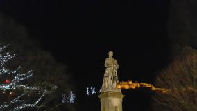 Statue of Allan Ramsay and Edinburgh Castle Stock Photography