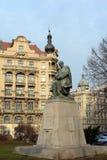 Statue of Alois Jirasek Czech writer, 1851-1930 in Jiraskovo namesti. Stock Photo