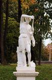 statue of an Amazon, the bottom Dutch garden in the palace park Gatchina Russia Royalty Free Stock Photo