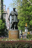 Statue of American actor Edwin Booth as Hamlet at Gramercy Park. NEW YORK - MAY 7, 2015: Statue of american actor Edwin Booth as Hamlet at Gramercy Park by Royalty Free Stock Photography