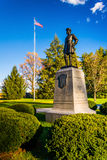 Statue and American flag at Gettysburg, Pennsylvania. Stock Image