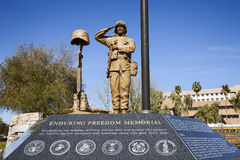 Statue of American Soldier - Freedom Memorial. Statue of American Soldier at Enduring Freedom Memorial at State Capitol of Arizona in Phoenix stock photography