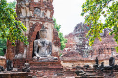 Statue of Ancient Buddha at Wat Mahatat, Thailand. Royalty Free Stock Photos