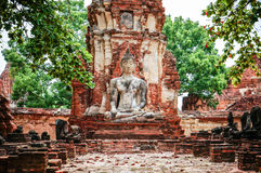 Statue of Ancient Buddha at Wat Mahatat, Thailand. Royalty Free Stock Photography