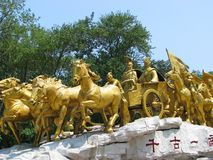 Statue of ancient Chinese army. Monument of the Chinese army of emperor. East China Stock Image