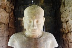 Statue of ancient king Jayavarman the seventh Royalty Free Stock Images