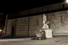 Statue of Andrea Doria as Neptune in Carrara. The historic 16th century fountain with a statue of Andrea Doria as Neptune by Baccio Bandinelli, locally wellknown stock photo