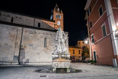 Statue of Andrea Doria as Neptune in Carrara. The historic 16th century fountain with a statue of Andrea Doria as Neptune by Baccio Bandinelli, locally wellknown royalty free stock photography