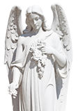 Statue of an angel with flowers isolated. On white with clipping path Royalty Free Stock Image