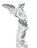 Statue of an angel with flowers isolated Royalty Free Stock Photography