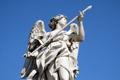Angel with the Lance, Ponte Sant Angelo in Rome. Statue of Angel with the Lance by Domenico Guidi, Ponte Sant Angelo in Rome, Italy Stock Image