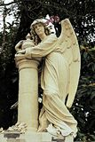 Statue of angel leaning on column. Small statue draws attention amidst vegetation stock images