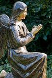 Statue of angel at prayer. Bronze statue of serene angel at prayer Stock Images
