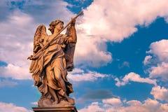 Statue of Angel on Saint Angel Bridge, Rome, Italy Royalty Free Stock Photos