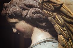Statue of an angel in Sant Peter Church, Modica in Sicily. Detail of a wooden statue of an angel in Sant Peter Church, Modica in Sicily, in Ragusa province Stock Photo