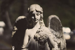 Statue of an angel with wings in the sunshine. Stock Photography