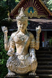 Statue of Angels Sing a half in Thai temple Stock Photos