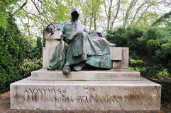 Statue of the Anonymous Author in Budapest Stock Photo