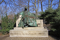 Statue of Anonymus in Budapest's City Park. In the courtyard of Vajdahunyad Castle. February 2012 Royalty Free Stock Images