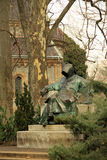 Statue of Anonymus (unidentified author of  The Deeds of the Hungarians) in Budapest City Park. February 2012 Stock Photo