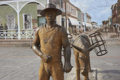 Statue in Antofagasta, Chile. Statue of a man and a mule dedicated to the nitrate miners of the 18th and 19th centuries whom provided the foundation for the city Stock Images