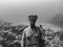 Statue of Antonia Minor in Claudio's Ninfeum. underwater, archeology. Lost wonders of Baiae, fashionable Roman resort town where numerous emperors owned stock image
