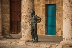 Statue Antonio Gades at the Plaza de la Cathedral in Old Havana. Cuba royalty free stock images