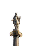 Statue of Apollon on the top of the column isolated on white background, At Stock Photo