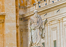 Statue of Apostle Paul in front of the Basilica of St. Peter Royalty Free Stock Photos