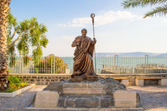 Statue of Apostle Peter. Bronze statue of apostle Peter at ancient village Capernaum on the shore of the Sea of galilee. Travel Israel stock photos