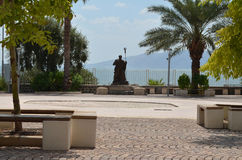 Statue of Apostle Peter. In Capernaum at the shore of the Sea of Galilee Royalty Free Stock Photo