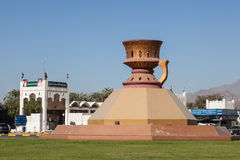 Statue of an arabic incense burner. Statue of the traditional arabic incense burner in Fujairah. December 14, 2014 in Fujairah, United Arab Emirates Royalty Free Stock Images
