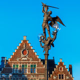 Statue of Archangel Michael in Ghent, Belgium stock images