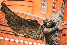 Statue Of Archangel Michael With Outstretched Wings Before Catho Stock Photo